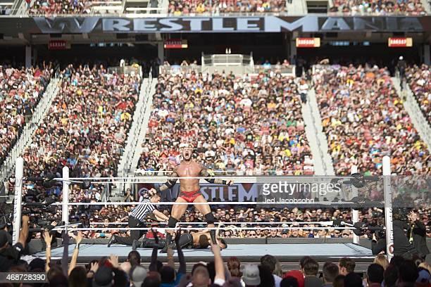 WrestleMania 31 Randy Orton victorious standing over Seth Rollins during event at Levi's Stadium Santa Clara CA CREDIT Jed Jacobsohn