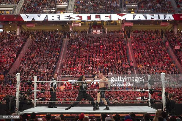 WrestleMania 31 Roman Reigns in action vs Brock Lesnar during event at Levi's Stadium Santa Clara CA CREDIT Jed Jacobsohn