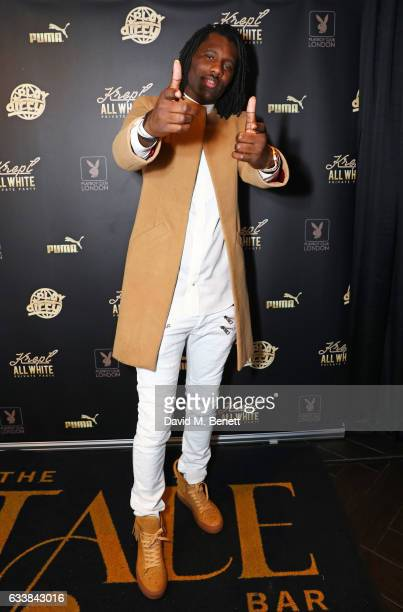 Wretch 32 attends Krept's all white attire private birthday party at The Playboy Club on February 4 2017 in London England