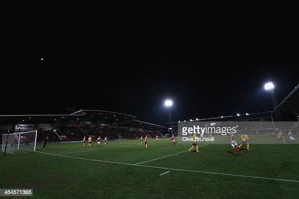 Wrexham AFC and Oxford United in action during the FA Cup Second Round match between Wrexham AFC and Oxford United at Racecourse Ground on December 9...