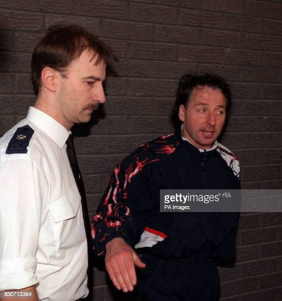 Wrexham and former Manchester United footballer Mickey Thomas pictured outside Wrexham police station after appearing before the magistrates court in...