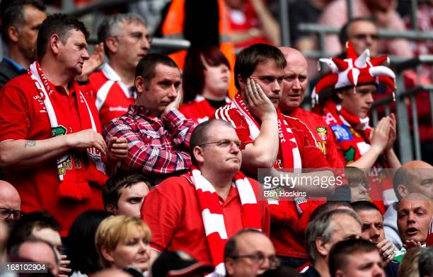 Wrexham fans look dejected during the Blue Square Bet Premier Conference Play-off Final match between Wrexham and Newport County A.F.C at Wembley...