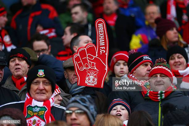 Wrexham fans show their support before the FA Cup Third Round match between Stoke City and Wrexham at Britannia Stadium on January 4 2015 in Stoke on...