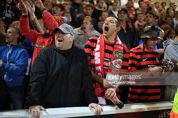 Wrexham fans show their support during the Vanarama Conference match between Chester and Wrexham at the Deva Stadium on September 22, 2014 in...