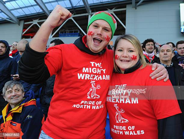 Wrexham fans turn up in force for the FA Cup third round match between Brighton Hove Albion and Wrexham at Amex Stadium on January 7 2012 in Brighton...