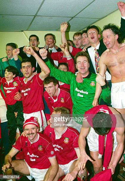 Wrexham goalscorer Mickey Thomas and team mates celebrate in the dressing room after League Division Four side Wrexham had beaten Division One side...