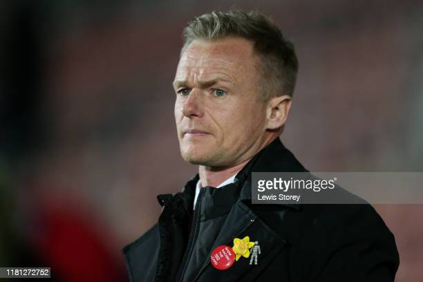 Wrexham manager Dean Keates looks on ahead of the Vanarama National League match between Wrexham and Chesterfield at the Racecourse Ground on October...