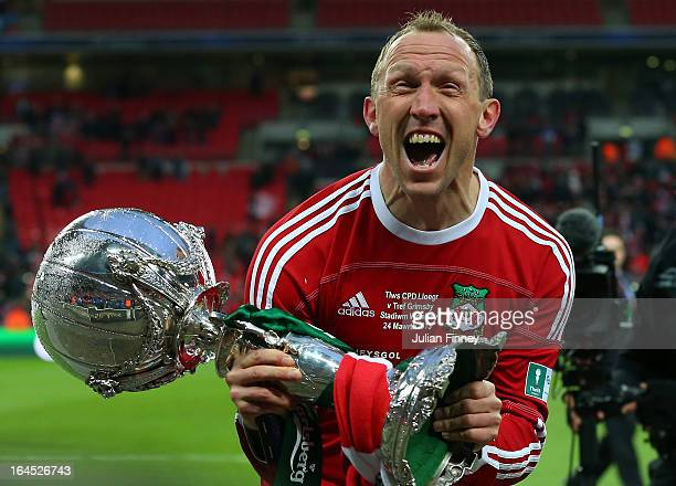 Wrexham player manager Andy Morrell celebrates with the trophy during the FA Trophy Final match between Wrexham and Grimsby Town at Wembley Stadium...