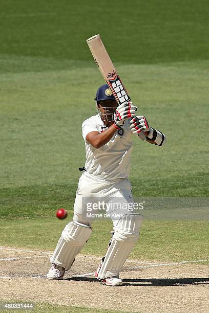Wriddhiman Saha of India bats during day four of the First Test match between Australia and India at Adelaide Oval on December 12 2014 in Adelaide...