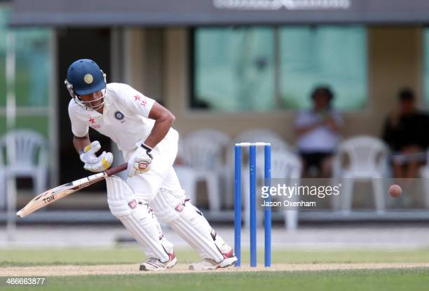 Wriddhiman Saha of India in action during day two of the international tour match between the New Zealand XI and India at Cobham Oval on February 3...
