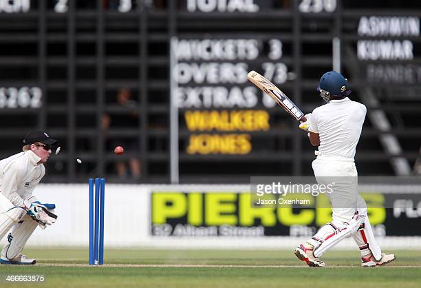 Wriddhiman Saha of India is bowled during day two of the international tour match between the New Zealand XI and India at Cobham Oval on February 3...