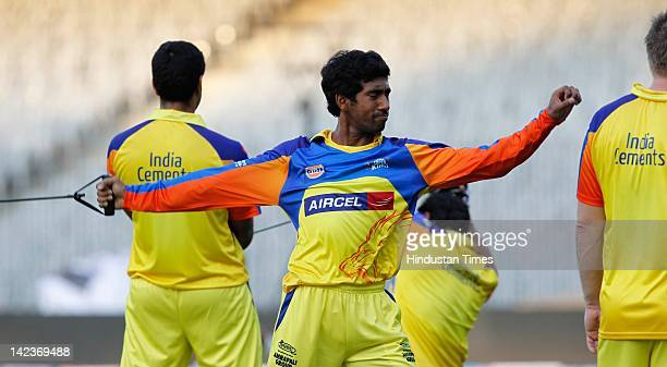 Wriddhiman Saha of the Chennai Super Kings stretches during net practice at MA Chidambaram Stadium on April 2 2012 in Chennai India The inaugural...