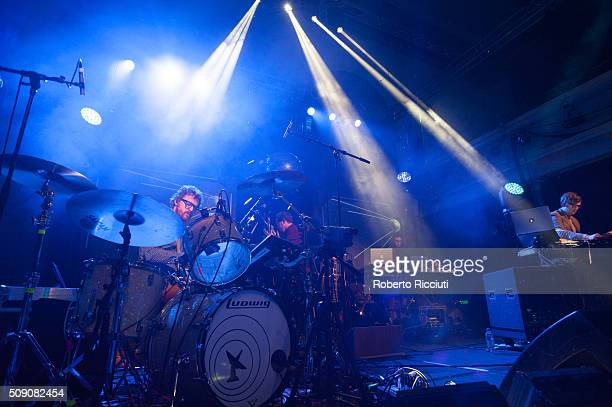 Wrigglesworth and J Willgoose Esq of Public Service Broadcasting perform on stage at Queen's Hall on February 8 2016 in Edinburgh Scotland