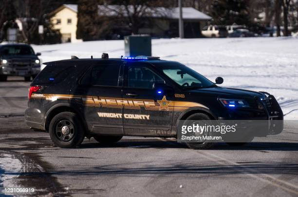 Wright County Sheriff's vehicle blocks the road outside the Allina Health Clinic where a shooting took place on February 9, 2021 in Buffalo,...