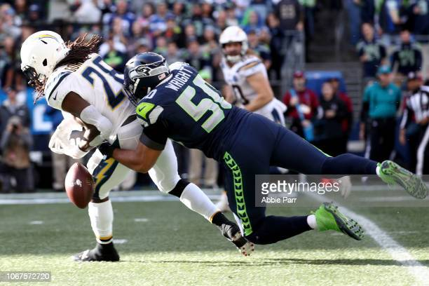 J Wright of the Seattle Seahawks defends against Melvin Gordon of the Los Angeles Chargers in the second quarter during their game at CenturyLink...
