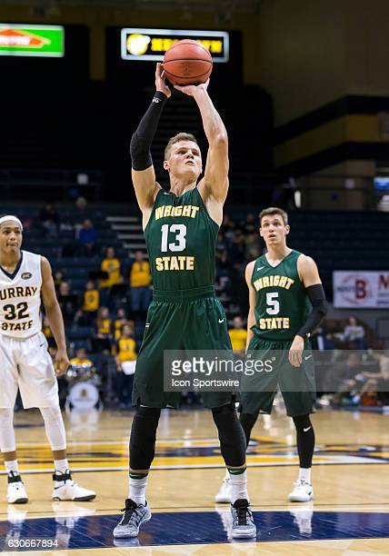 Wright State guard Grant Benzinger shoots a free throw during an NCAA basketball game between the Murray State Racers and Wright State Raiders on...