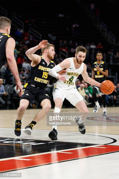Wright State Raiders guard Alan Vest drives to the basket against Northern Kentucky Norse guard Tyler Sharpe during the Horizon League Conference...