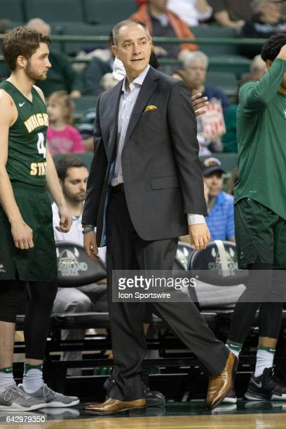Wright State Raiders head coach Scott Nagy during the second half of the men's college basketball game between the Wright State Raiders and Cleveland...