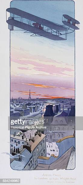 WrightAriel Biplane Over Paris by Gamy and Pouchoir