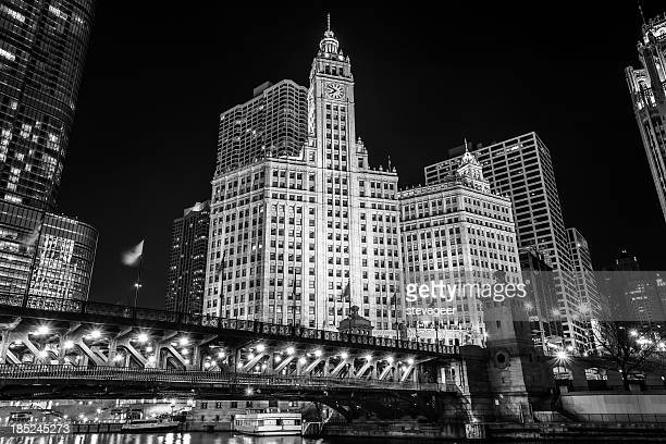 Wrigley Building at Night, downtown Chicago