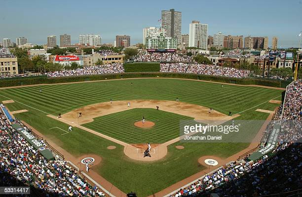 Wrigley Field is shown during game one of a double header between the Chicago Cubs and Florida Marlins on September 10 2004 at Wrigley Field in...