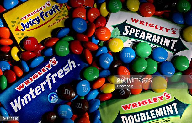 Wrigley's chewing gum and MM's candy are arranged for a photo in New York US on Monday April 28 2008 Mars Inc agreed to purchase Wm Wrigley Jr Co for...