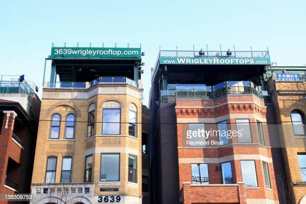 Wrigleyville rooftop apartments across the street from Wrigley Field home of the Chicago Cubs in Chicago Illinois on DECEMBER 02 2011