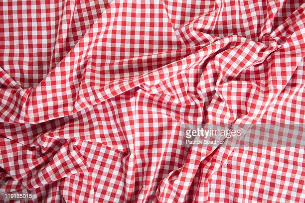 a wrinkled gingham picnic blanket - checked pattern stock pictures, royalty-free photos & images