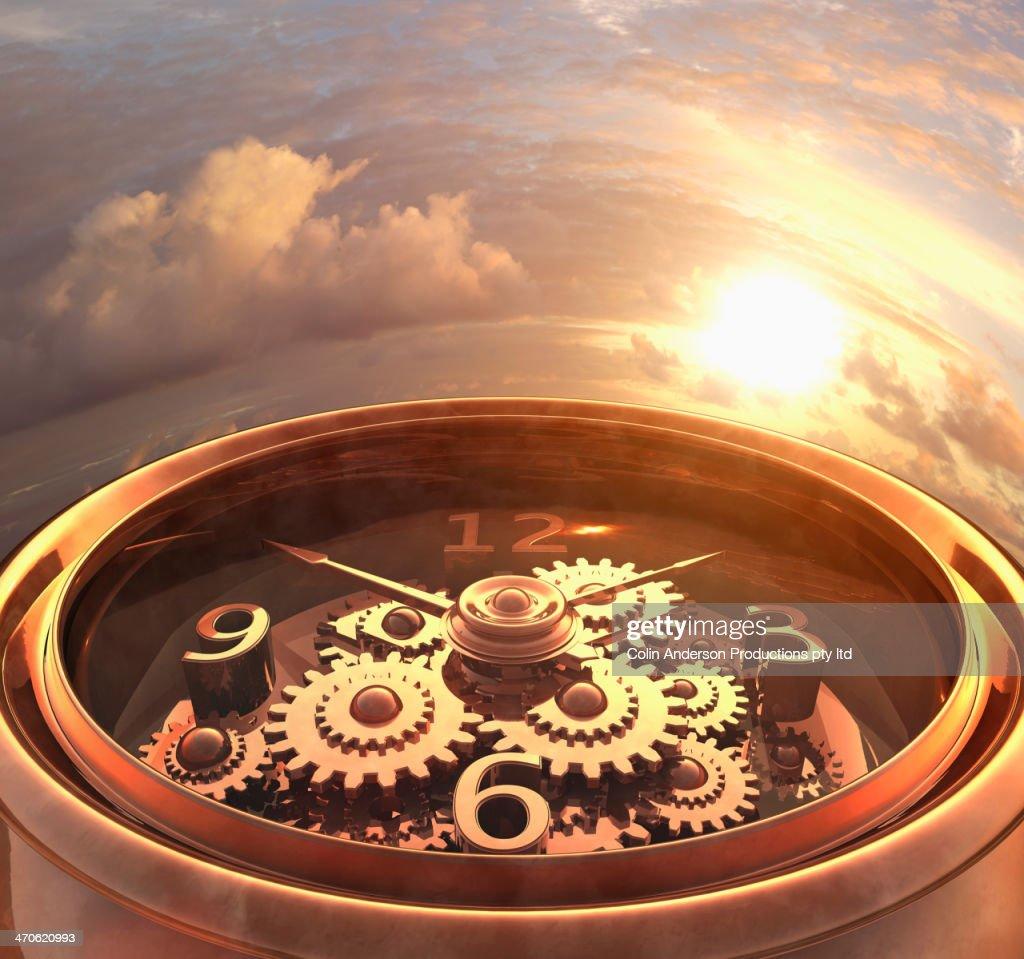 Wrist watch overlooking dramatic sky : Stock Photo