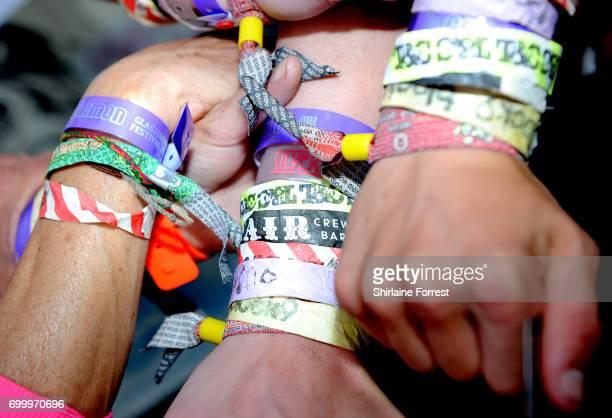Wristbands on display during the Glastonbury Festival 2017 at Worthy Farm Pilton on June 22 2017 in Glastonbury England