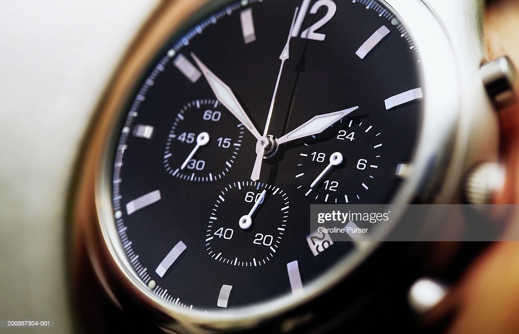 Wristwatch, close-up (focus on face) : Stock Photo