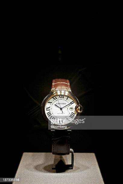 A wristwatch from the Balon Bleu collection by Cartier a watchmaking unit of Cie Financiere Richemont SA sits on display at the Salon International...