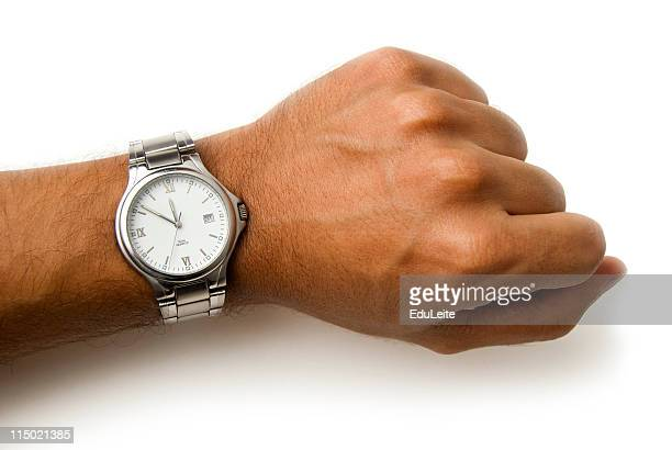 wristwatch on a wrist - clipping path - wrist stock pictures, royalty-free photos & images