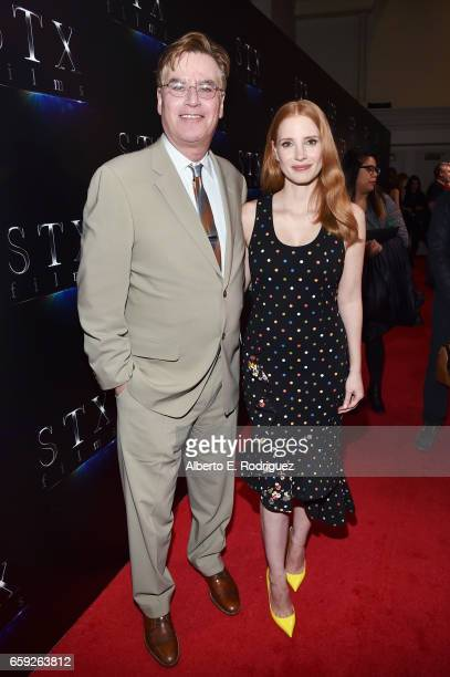 Writer Aaron Sorkin and actor Jessica Chastain at CinemaCon 2017 The State of the Industry Past Present and Future and STXfilms Presentation at The...
