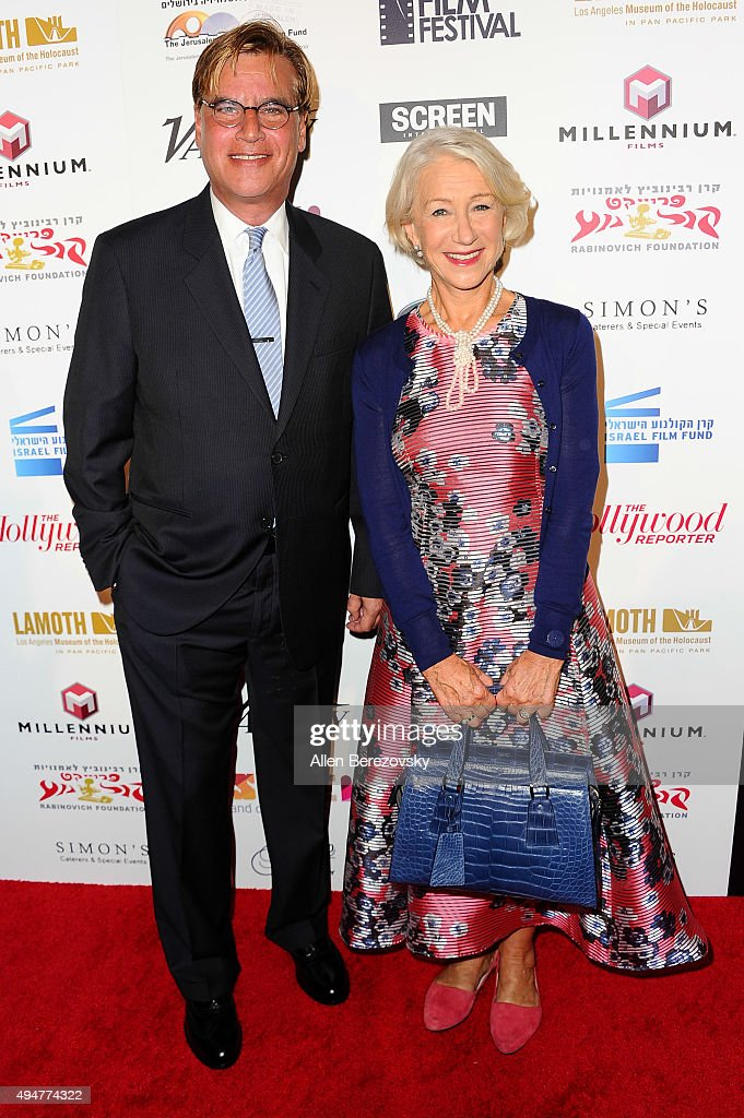 Writer Aaron Sorkin (L) and actress Helen Mirren arrive at the 29th Israel Film Festival's Opening Night Gala at Saban Theatre on October 28, 2015 in Beverly Hills, California.