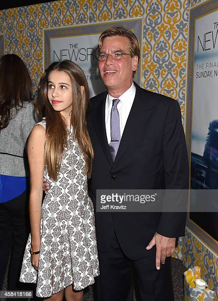 """Writer Aaron Sorkin and daughter Roxy Sorkin attend the premiere of HBO's """"The Newsroom"""" Season 3 at the DGA Theater on November 4, 2014 in Los..."""