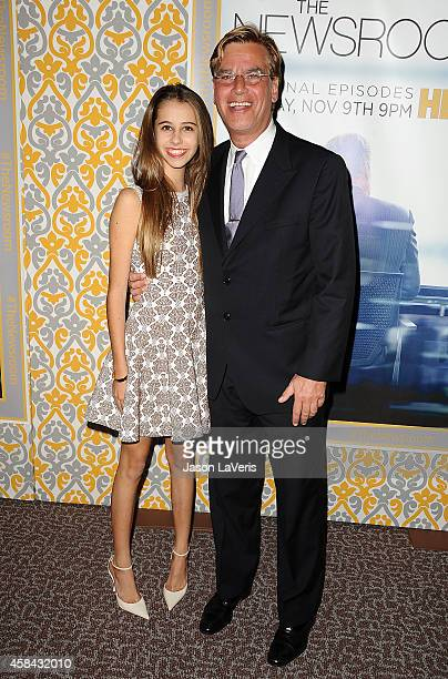 """Writer Aaron Sorkin and daughter Roxy Sorkin attend the premiere of """"The Newsroom"""" at DGA Theater on November 4, 2014 in Los Angeles, California."""