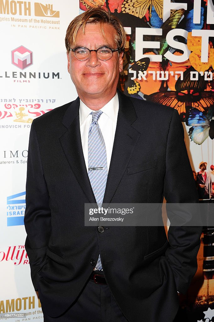 Writer Aaron Sorkin arrives at the 29th Israel Film Festival's Opening Night Gala at Saban Theatre on October 28, 2015 in Beverly Hills, California.