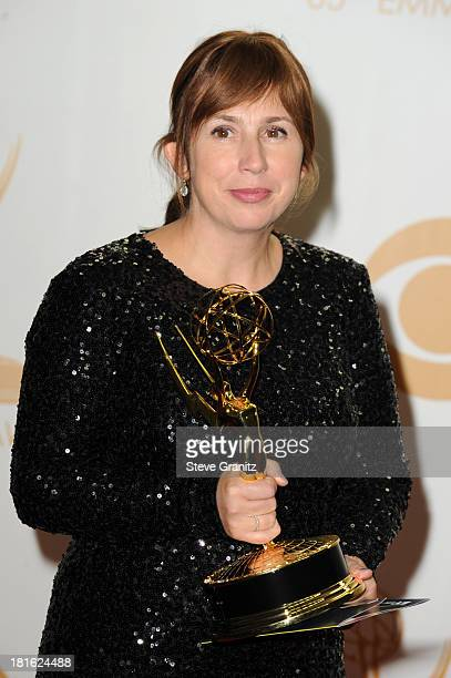 Writer Abi Morgan poses in the press room during the 65th Annual Primetime Emmy Awards held at Nokia Theatre LA Live on September 22 2013 in Los...