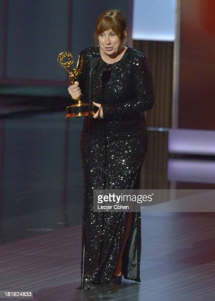 Writer Abi Morgan speaks onstage during the 65th Annual Primetime Emmy Awards held at Nokia Theatre LA Live on September 22 2013 in Los Angeles...