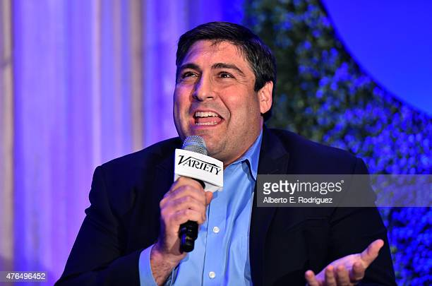 Writer Adam F Goldberg of 'The Goldbergs' speaks at Variety's A Night In The Writers' Room at the Four Seasons on June 9 2015 in Los Angeles...