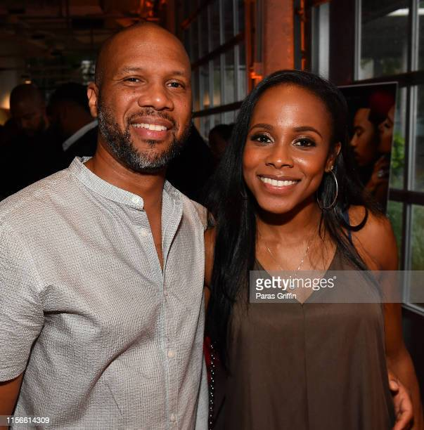 Writer Adrian Dukes and actress Marquita Goings attends Ambitions Premiere at The Gathering Spot on June 17 2019 in Atlanta Georgia
