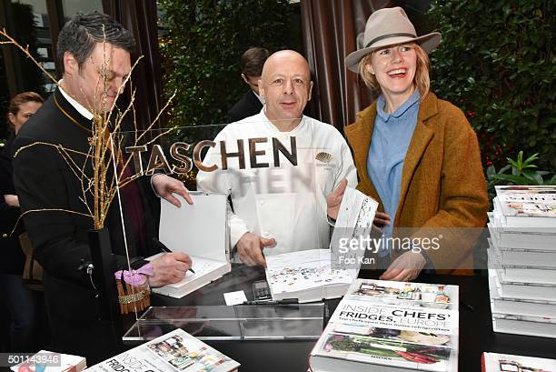 Writer Adrian Moore from Mandarin Oriental Chef Thierry Marx of Mandarin Oriental restaurant and photographer Carrie Salomon attend the Thierry Marx...