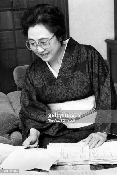 Writer Aiko Sato is seen during the Asahi Shimbun interview on February 9 1989 in Tokyo Japan