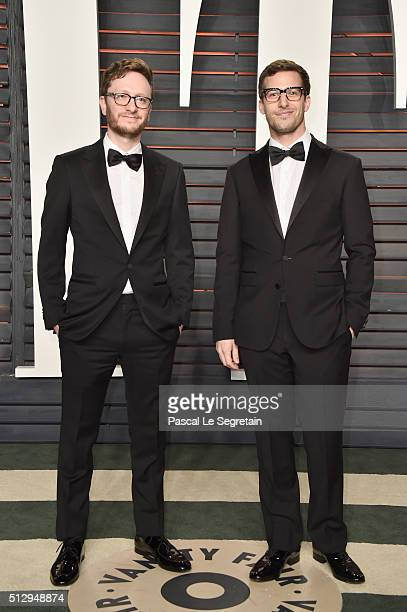 Writer Akiva Schaffer and actor Andy Samberg attend the 2016 Vanity Fair Oscar Party Hosted By Graydon Carter at the Wallis Annenberg Center for the...