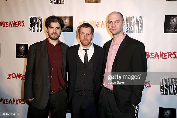 Writer Al Kaplan Writer/Director Jordan Rubin and Writer Jon Kaplan attend the premiere of Freestyle Releasing's new film 'Zombeavers' at The Theatre...