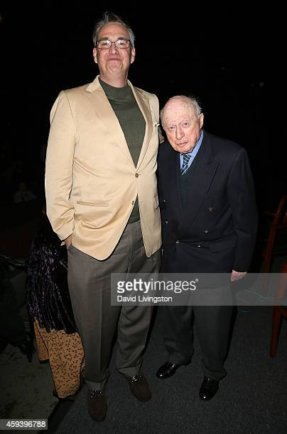 Writer Alan K Rode and actor Norman Lloyd attend the American Cinematheque film series '100 Years of Norman Lloyd' QA at the Aero Theatre on November...