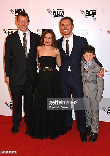 Writer Alastair Siddons, cast members Lyndsey Marshal, Michael Fassbender and Georgie Smith attend the 'Trespass Against Us' screening during the...