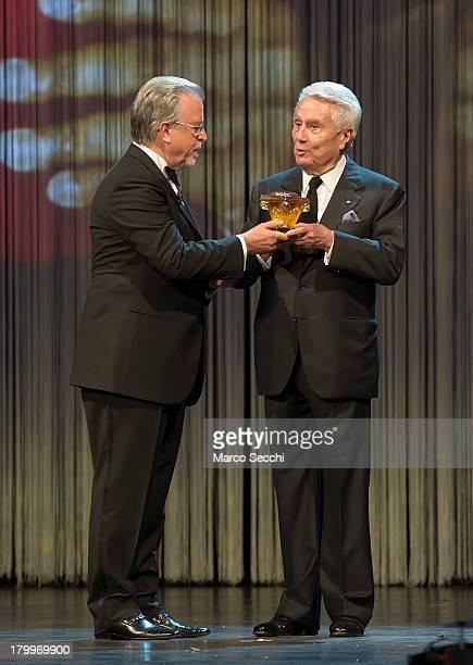 Writer Alberto Arbasino receives the prize Premio Fondazione Il Campiello by Roberto Zuccato President of Fondazione Il Campiello e di Confindustria...