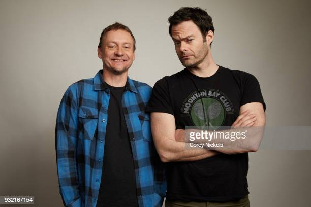 Writer Alec Berg and Actor Bill Hader from the show Barry pose for a portrait in the Getty Images Portrait Studio Powered by Pizza Hut at the 2018...